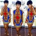 AG 9 Tienda de Hadas 2016 Venta Caliente Verano de Las Mujeres Vestido de la Impresión Africana Vestido Ocasional Recta Bohemia Sin Mangas Mini Vestidos