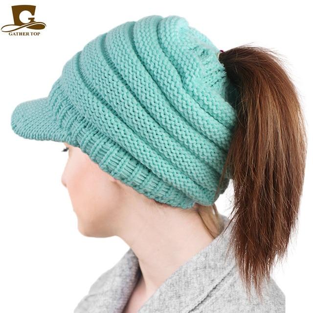 7d11a9fde421d New Visor Ponytail Beanie Hat Women Crochet Knit Cap Winter Skullies  Beanies Warm Caps Female Knitted