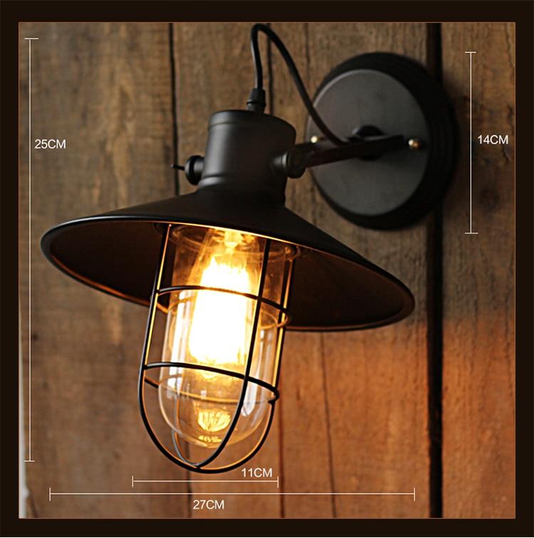 Retro észak-európai fekete ketrec vasfali világító folyosó - Beltéri világítás