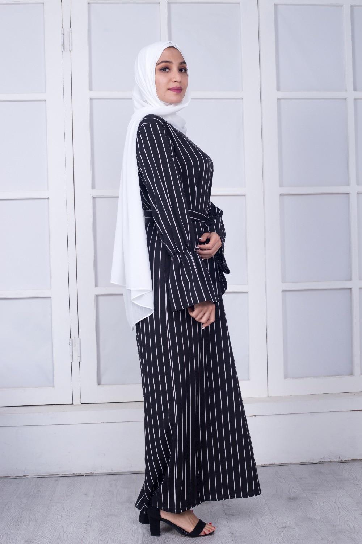 Elegant Cotton Striped Dubai Kaftan Dress 3