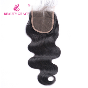 Image 2 - Beauty Grace Peruvian Hair Body Wave Lace Closure With Baby Hair 4x4 Remy 100% Human Hair Middle Free Three Part Top Closures