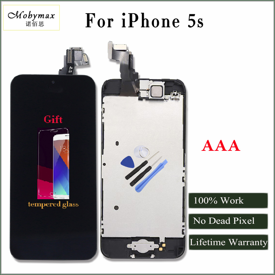 Moybmax AAA quality LCD display for iphone 5S Touch Screen Digitizer Full Assembly Home Button+Front Camera+gifts