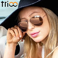 TRIOO High Quality Classic Polarized Sunglasses Brand Designer Black Lens Shades Classic Style Gold Frame Polaroid Sun Glasses