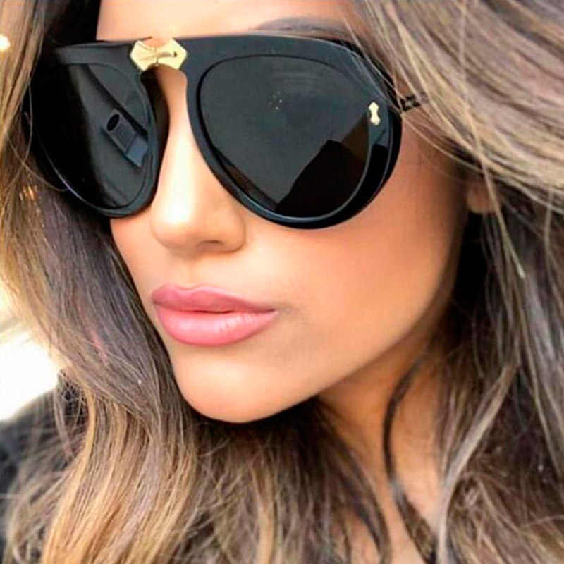 ac34bed5d1 Ladies Black Clear Retro Pilot Sunglasses 2019 New Italy Brand Designer  Sunglasses Women Fashion Sun Glasses