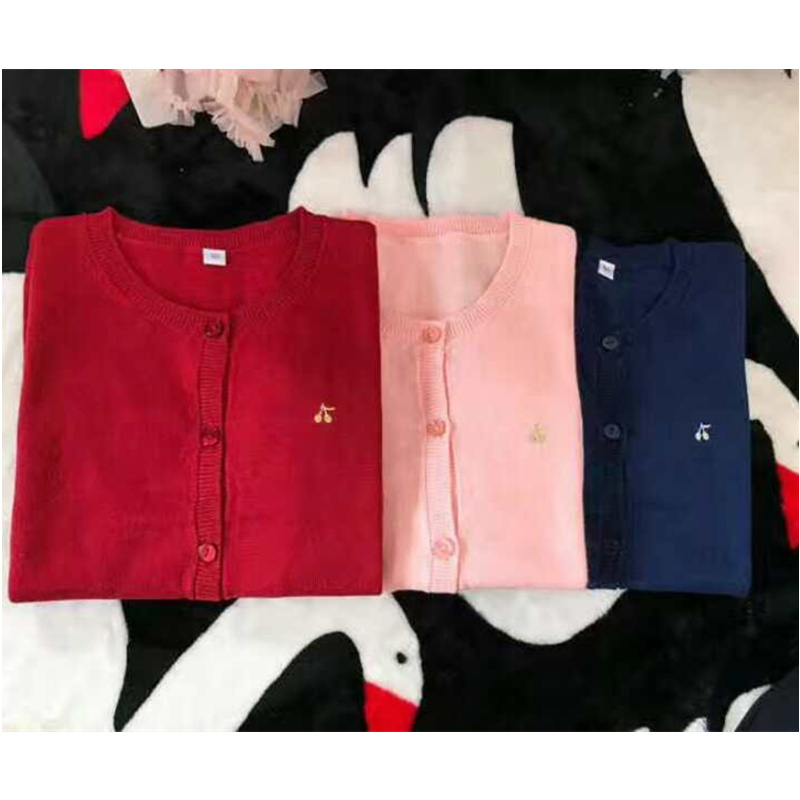 3 Color Red Pink Blue Cherry Cardigan Coat 3 color red pink blue cherry cardigan coat