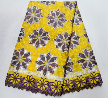 Newest High Quality Swiss Voile Laces Fabric Yellow African Cotton Lace Fabric Beautiful flower style lace fabric for party