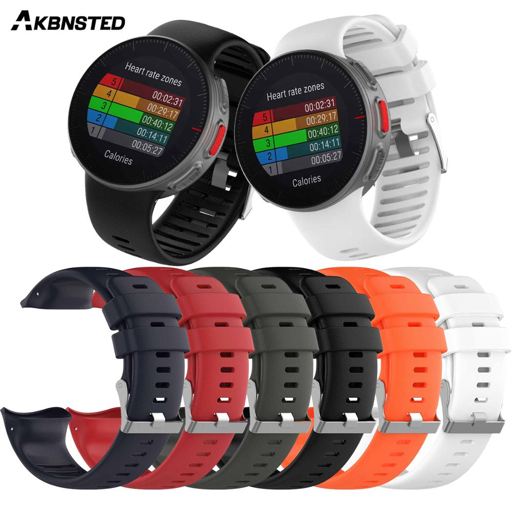 AKBNSTED Colorful Soft Silicone Strap For Polar Vantage V Watchband Replacement Smart Watch WristBand Accessories For Vantage V