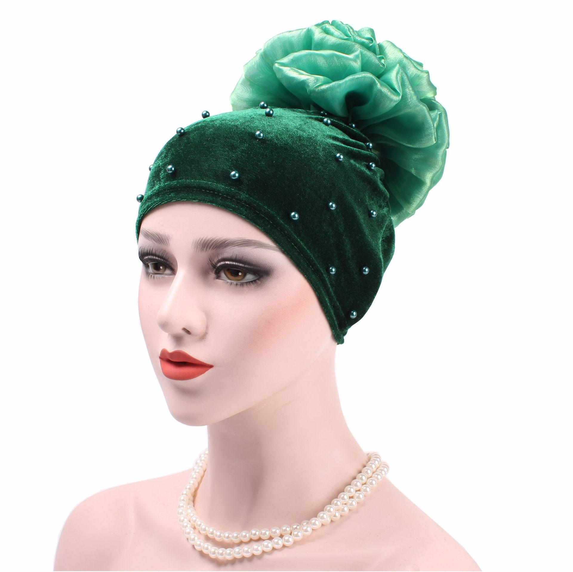 11 Patterns Velvet Beading Twist Flower Hats for Women Skullies Beanies Warm Stocking Hat Autumn Winter Caps Female Accessories