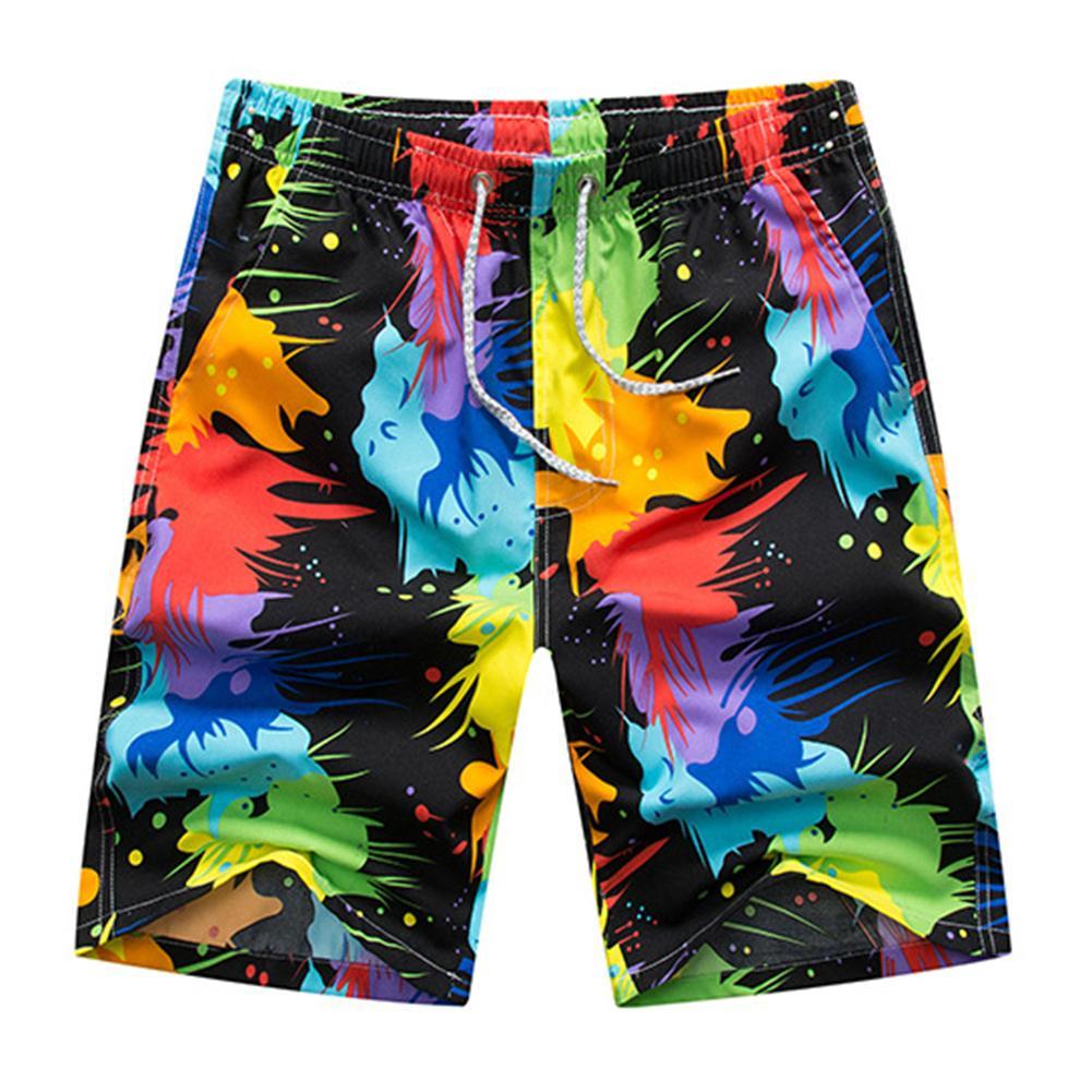 Men Shorts Plus Size Summer Beach Shorts Pants Men Colorful Drawstring Swimming Trunks