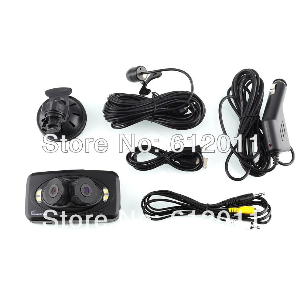 EVS H6000 CAR DVR 2.7 Lcd Three Cameras 360 Degree 1280x720p 4 White Light LED With G-Sensor