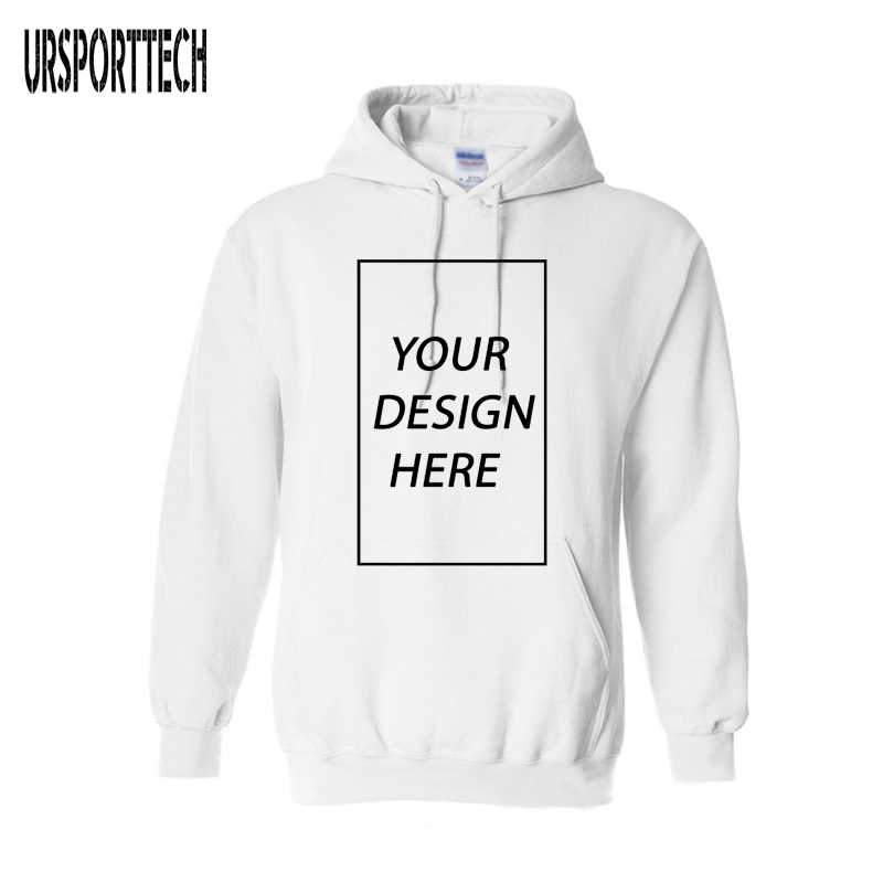 476a07a19 URSPORTTECH Customized With Own Logo Pullover Hoodies Men Adult Printed  Thick Sweatshirt Colorful Black Cotton Sweatershirt