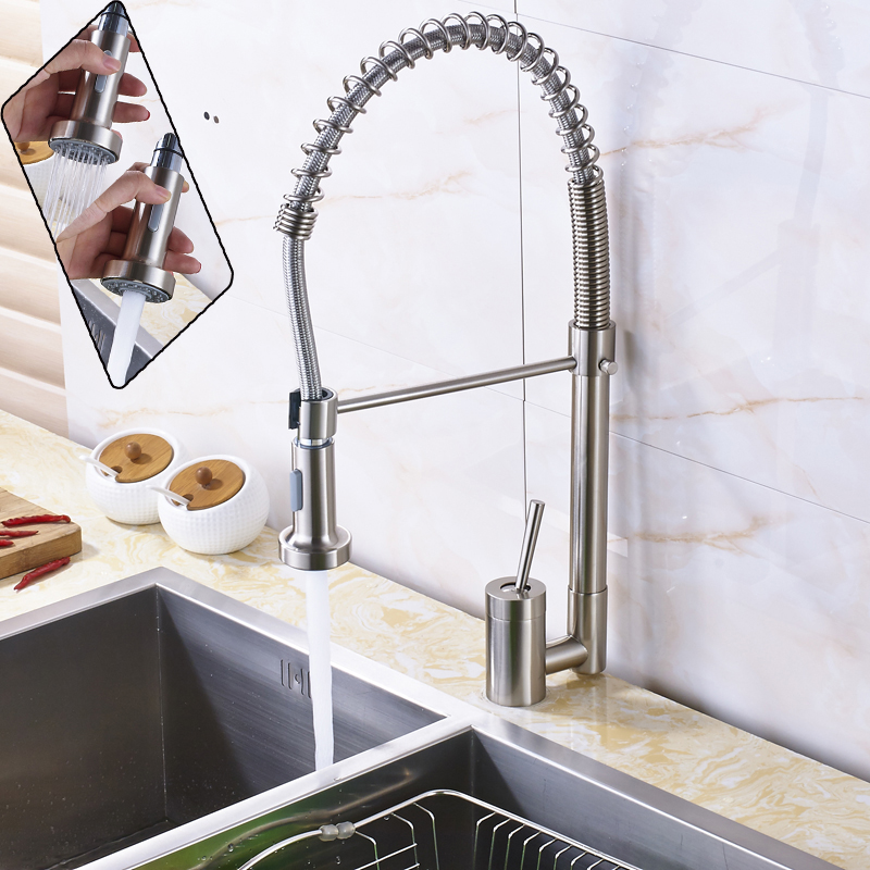 Nickel Brushed Bathroom Kitchen Faucet Tap Deck Mounted One Knob Kitchen Hot and Cold Water Faucet Dual Functions Sprayer