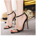2016 Summer Most Popular Narrow Band High Heels  Sweet Solid Color Ankle Buckle Cover Heel Women Sandals  Size 34-39