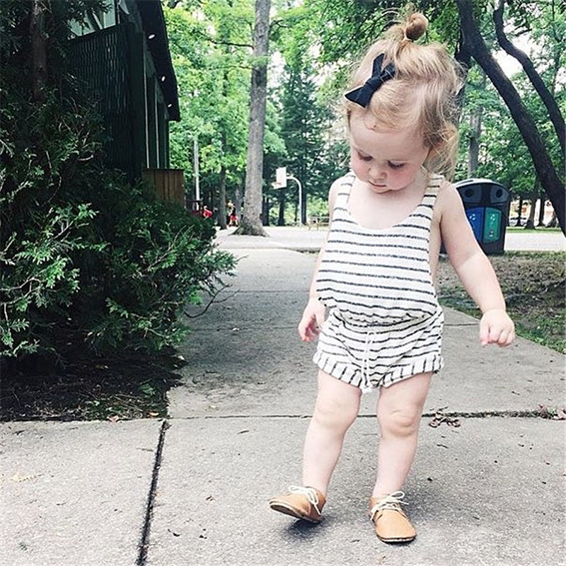Kids Girls Rompers Cotton Striped Overall Summer Baby Girl Boy Rompers Infant Toddler Romper Baby Girl