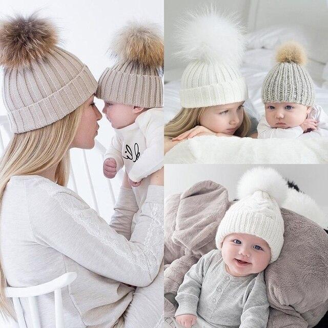 Mommy and me knitting winter beanie cap hat baby bonnet mom kids hats caps  Knitted Pompon ball headwear fleece Inside e8ed29db901