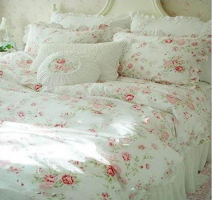 9cf5170913 Vintage Red Rose princess Bedding set floral cotton girls Duvet Cover king  queen twin rural comforter set
