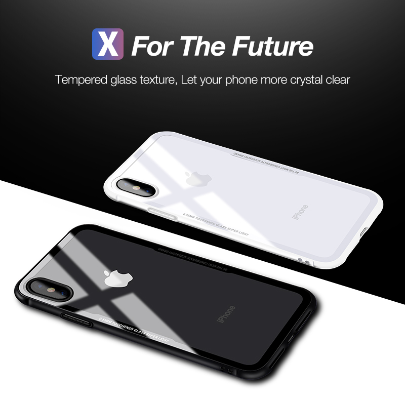 CAFELE New Original Phones Cases For iPhone X 10 Case soft TPU + Ultra Thin Transparent Glass Back Cover For iPhones X 10 Case (6)