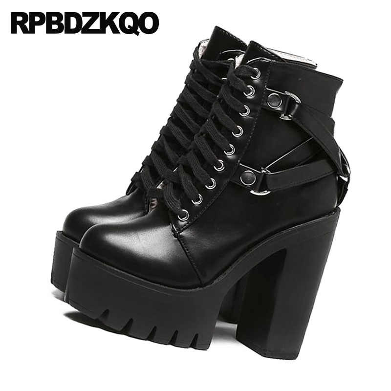 729eb5e785a3 ... Shoes Military Autumn Combat High Heel Booties Waterproof Chunky Biker Gothic  Platform Boots Punk Women Black ...