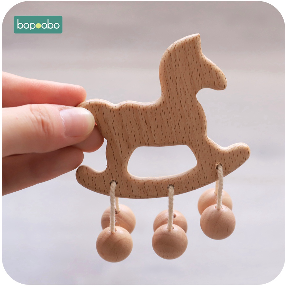 Bopoobo 1PCS Wooden Teether Beads Infant Newborn Organic Wood Rattle Lovely Cartoon Girl DIY Pendant Toys Nursing Beech Teething