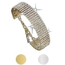 Jington oval Crystal Rhinestone Bracelet Bangle Wedding Bridal Wristband Jewelry