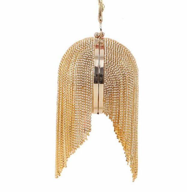 Most famous brand style circular evening bags fashion gold clutch bag full luxury diamond tassel women bag purse bolsa feminina