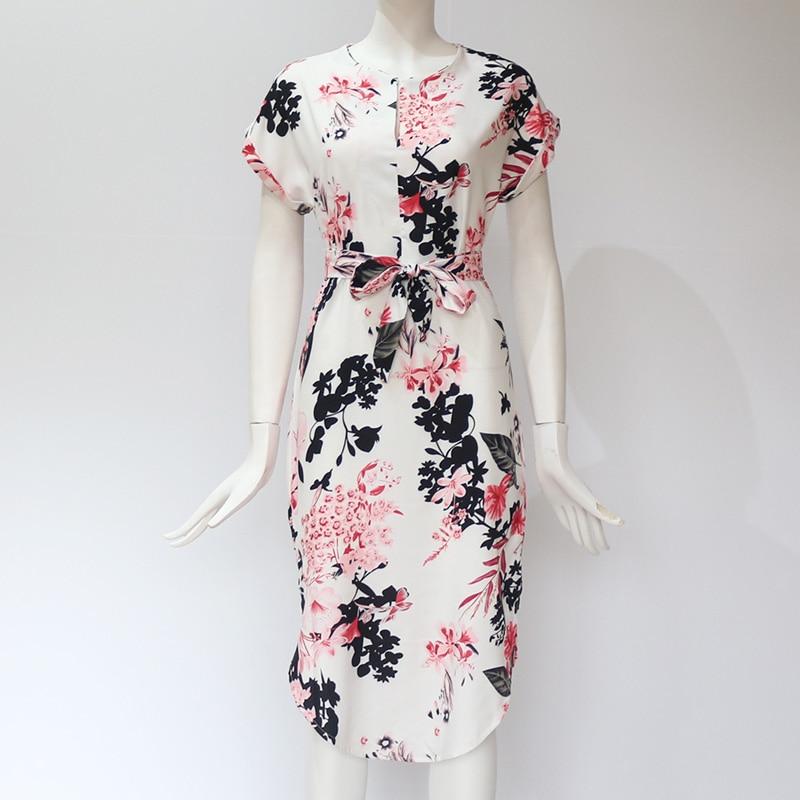 Midi Party Dresses Geometric Print Loose Batwing Sleeve Dress 37