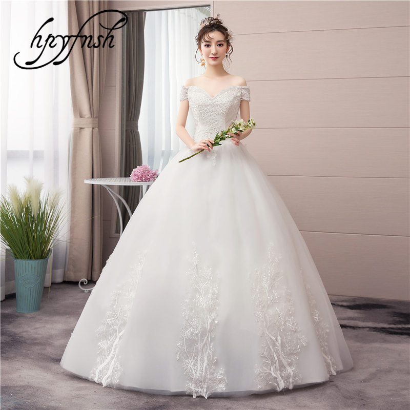 Real Photo Luxury Pearls Lace Tulle Appliques Sweet Sexy V-Neck Off Shoulder Fashion New Arrival Wedding Dress Brides CC 70