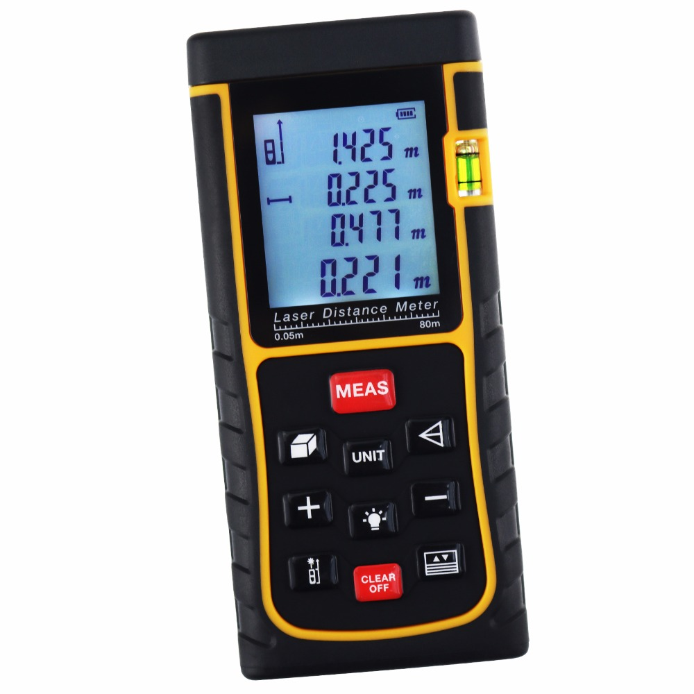 80m (262ft) Area Volume Pythagorean Digital 80 Meter Laser Distance Range Finder w/ Spirit Level Industrial Construction Use 0 05m 70m 230ft professional handheld laser range finder distance meter tester area volume pythagorean measure tecman tm70