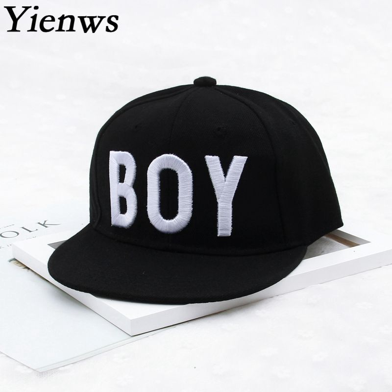 Yienws Kids   Baseball     Cap   Straight Brim Full Snapback   Cap   for Boys Gorras Planas Hip Hop   Cap   Youth Black   Cap   YIC628