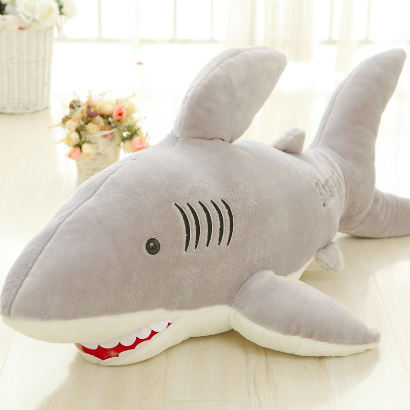 120cm Giant Shark Plush Animals Toys For Children Soft Kids White