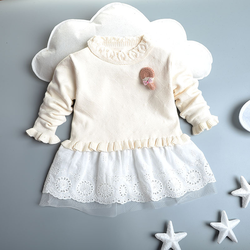 new 2016 spring autumn Children Clothing sweaters Patchwork girl clothing lace Baby Girls Dress knitting Long