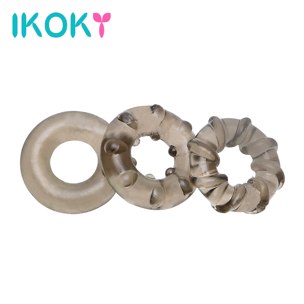 Buy IKOKY 3Pcs/set Penis Ring Cock Ring Delay Ejaculation Sex Toys Men Adult Products Male Masturbation Sex Product