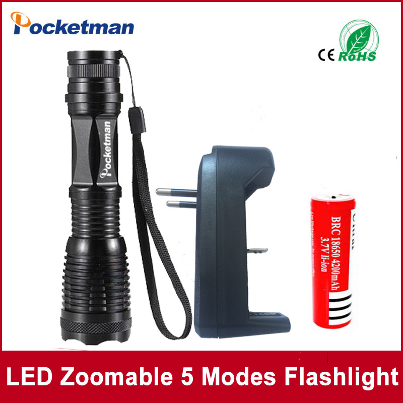 zk50 LED Flashlight e17 CREE XM-L T6 4000 Lumens High Power Focus Zoomable torch with one battery one charger e17 cree xm l t6 4000 lumens led flashlight torch adjustable lights