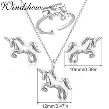 Cute Horse Charm Pendant Necklace Stud Earrings Ring Small Jewelry Sets for Women Girls Kids Children