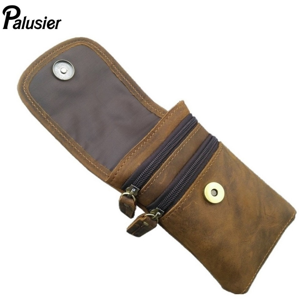 New Crazy Horse Cowhide Waist Pack Men Genuine Leather Pouch for iPhone Leisure Purse Small Pocket Card Holder Skin Belt Hook pocket
