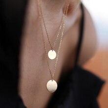 Coins Necklace Handmade Disk Choker Custom 14 Gold Filled 16mm Pendants Best Friend Collier Femme Kolye Collares Jewelry