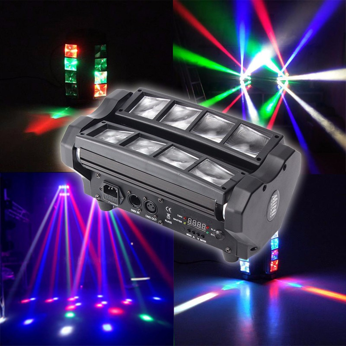 Smuxi AC90-240V 90W 4 In 1 LED RGB Stage Lighting Effect Voice Control RGB LED Stage Lamps Home Party Disco Club DJ Lights цена 2017