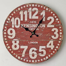 Best Sale London Style Red Digital Wooden Wall Clock Round Vintage Creative Wood Wall Watch for Diningroom Bedroom