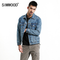 SIMWOOD 2018 New Autumn Brand Denim Jacket Men Fashion Casual Style Outwear Letter Print Jacket 100% Cotton High Quality 180081