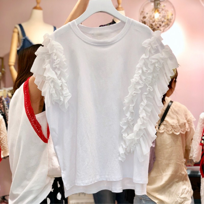 2019 New Spring Summer Irregular Ruffles Short Sleeve Tops O Neck Solid Color Loose Tshirts for Women Basic T-shirt Female