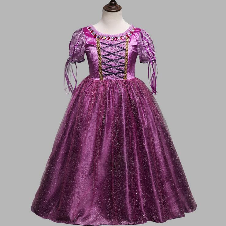 Princess Rapunzel Costume Girl Dress 2017 New Puff Sleeve Ball Gown Dress For Kids Christmas Party Teenage Sophia