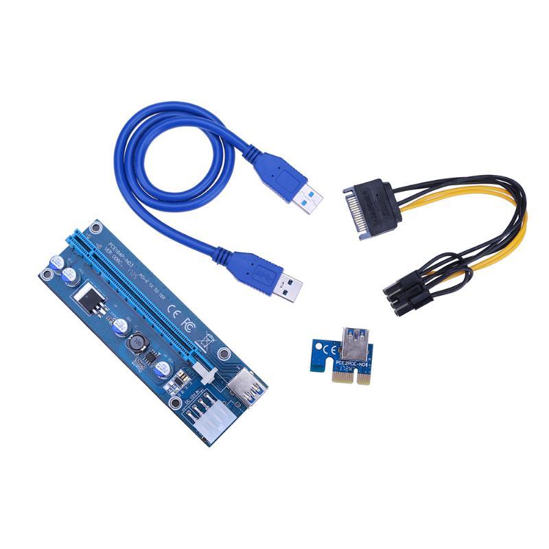 60 cm cable USB 3.0 pci-e 1x a 16x Riser tarjeta gráfica extensión SATA cable a 8 Pasadores cable de alimentación para la máquina de minería bitcoin