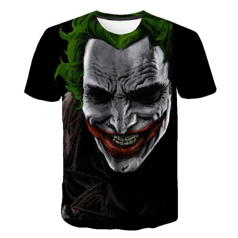 Темный рыцарь 3D Футболка с принтом Мужская джокер лицо Повседневная О-образным вырезом мужская футболка Летняя клоун с коротким рукавом забавная футболка s покемон