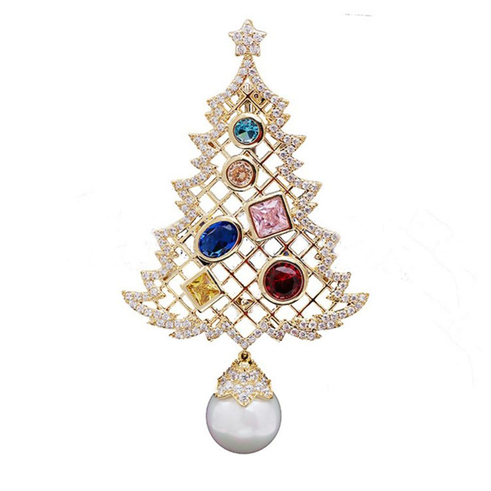 Colorful Christmas Tree Brooches New Beautiful Crystal Gold Color Brooch Pin Jewelry For Xmas Gift