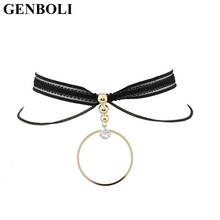 GENBOLI Multilayers Lace Strip Choker Necklace Metal Circle Long Pendant Gothic Fashion Women Neck Accessories Party Wedding