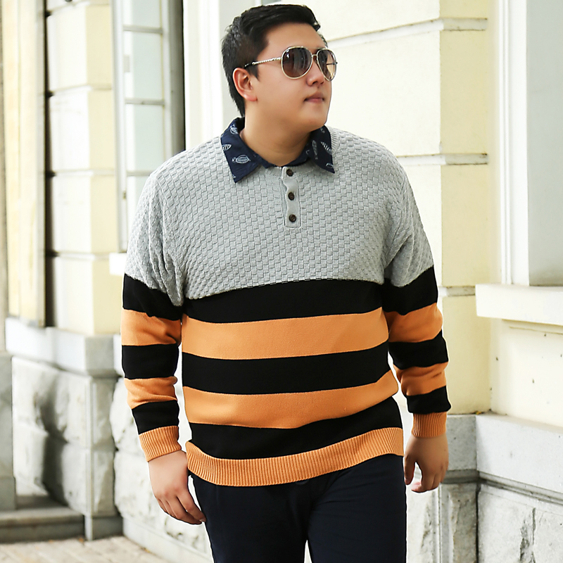 Mens Plus Size Sweaters Striped Patchwork Knitted Brand Clothing For Mans Loose Winter Knitwear Pullovers Male Knitting Clothes