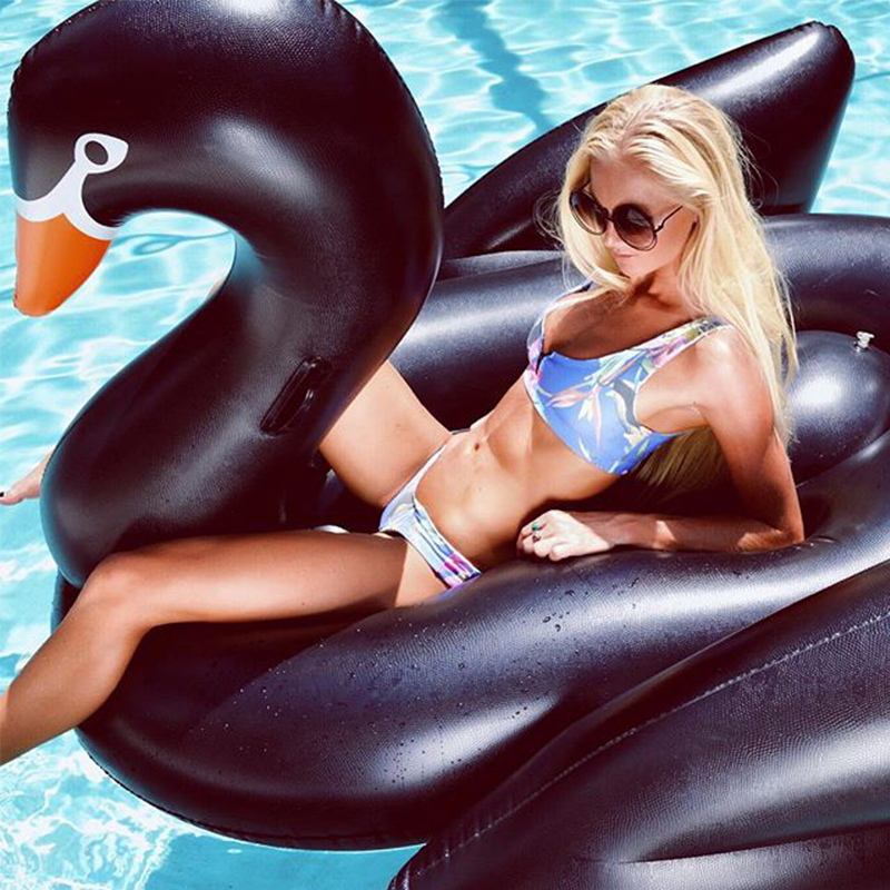 Inflatable Swimming Pool Float Summer Lake Swimming Lounge Pool Kid Giant Rideable Black Inflatable Swan Design Toys Float Raft funny summer inflatable water games inflatable bounce water slide with stairs and blowers