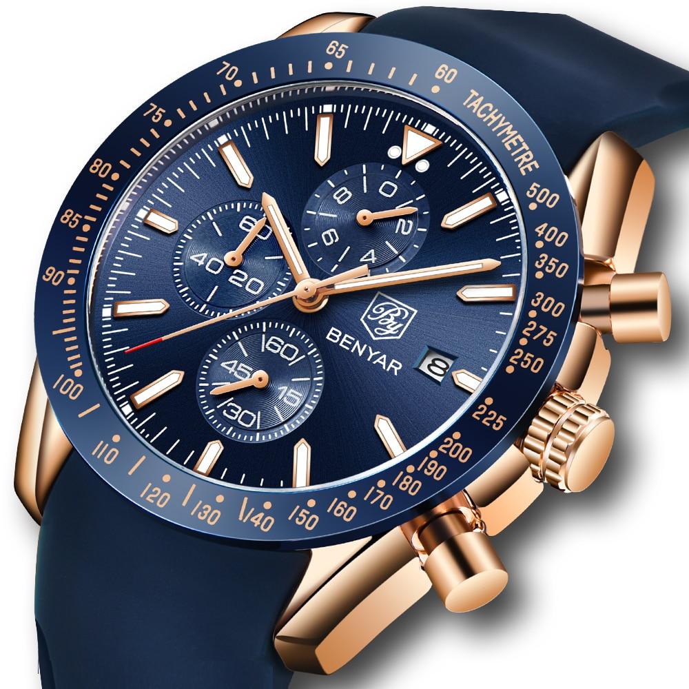 BENYAR relojes de hombres de la marca de lujo de correa de silicona impermeable del deporte cronógrafo de cuarzo militar reloj hombres reloj Relogio Masculino