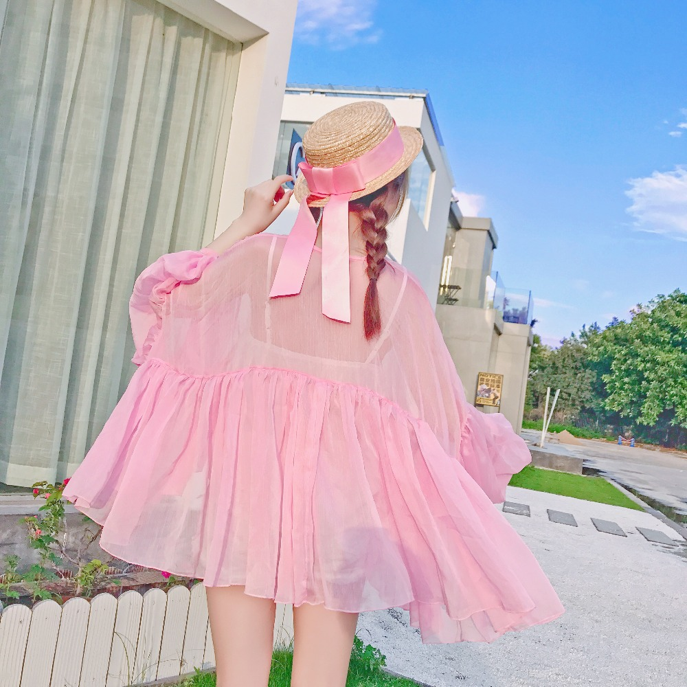Princess Sweet Lolita Blouse Sweet Holiday Elegant Fairy V-collar Irregular Lantern Sleeve Pink Chiffon Lovely Women Xh119 Women's Clothing