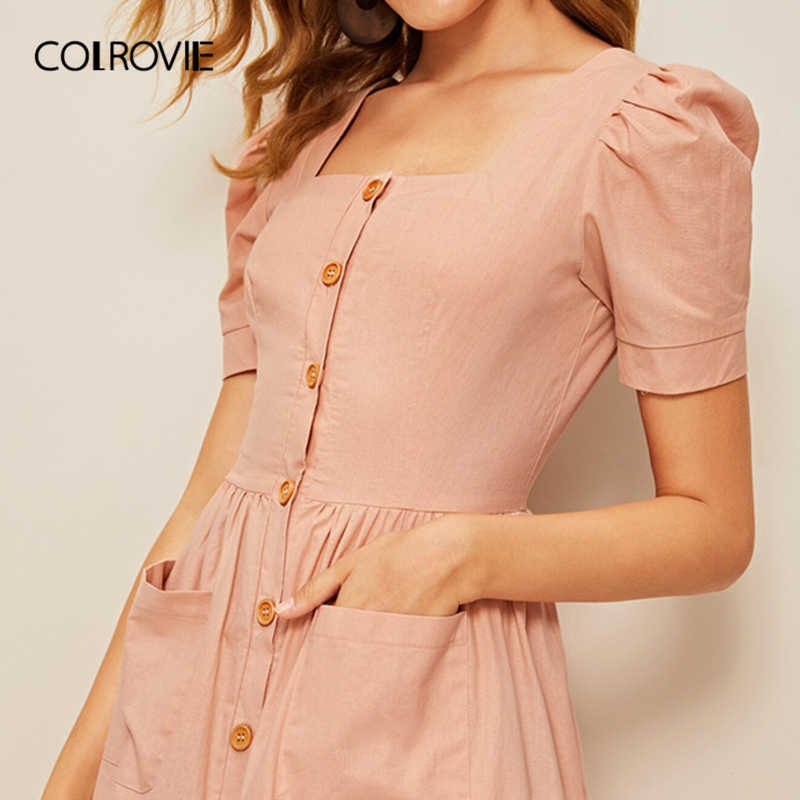 COLROVIE/розовое платье в стиле бохо с квадратным вырезом и рукавами-буфами и карманами на пуговицах для женщин, лето 2019, винтажные праздничные офисные женские платья